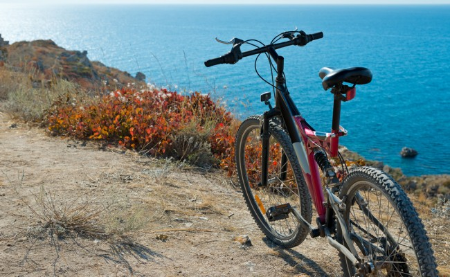Bike on coastline